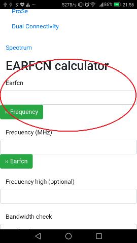 Input earfcn